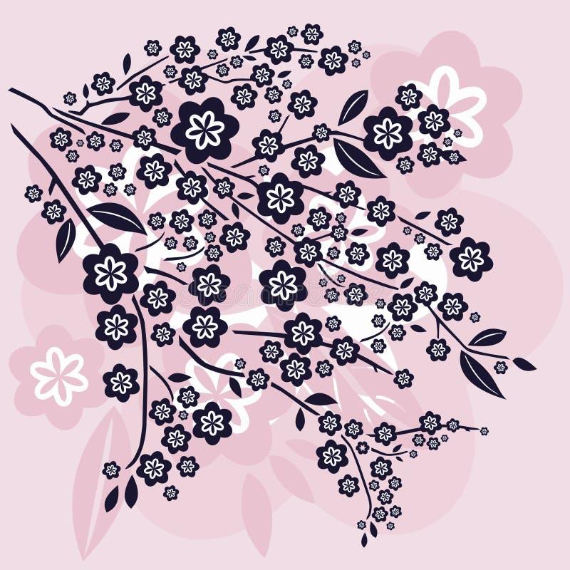 Zweige und Blüten lizenzfreie abbildung