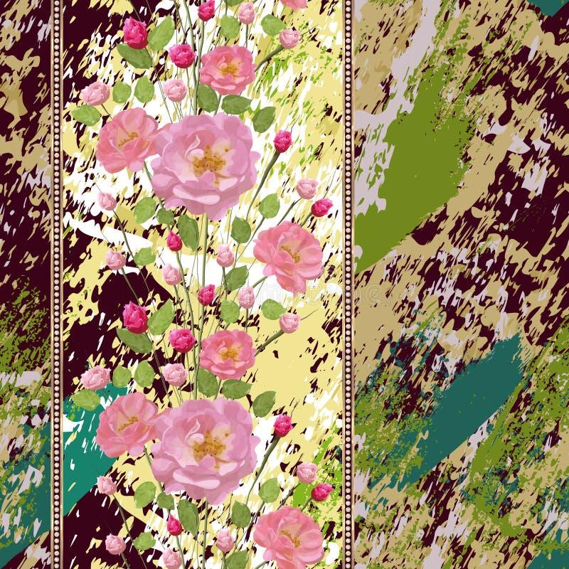 Zweige von rosa Rosen mit Blättern und Goldstreifen mit Diamanten auf strukturiertem Hintergrund lizenzfreie abbildung