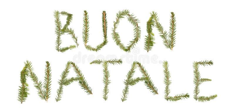 Zweige, welche die Phrase ?BUON NATALE bilden? lizenzfreie stockfotos