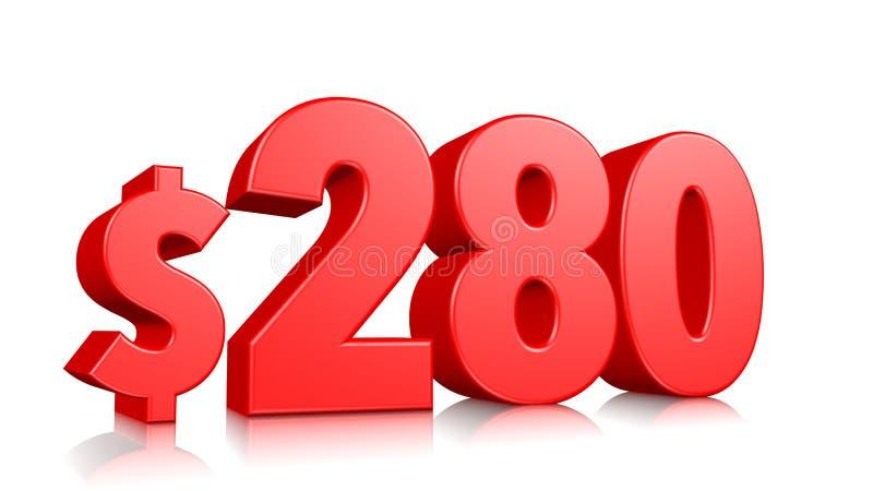 280$ zweihundert Symbol mit achtzig Preisen rote Textzahl 3d mit Dollarzeichen auf weißem Hintergrund übertragen vektor abbildung