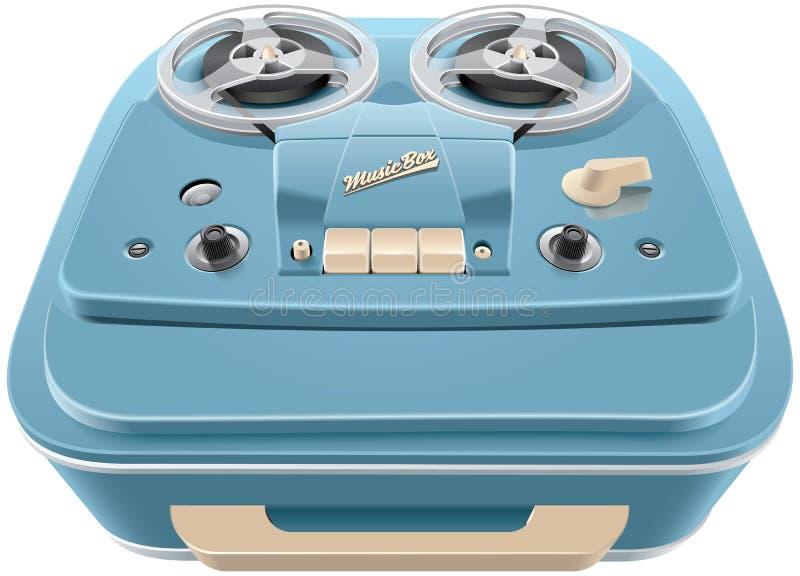 Zweispulenmagnetband- für Tonaufzeichnungenrecorder der Weinlese vektor abbildung