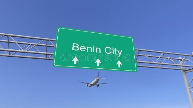 Zweistrahliges Handelsflugzeug, das zum Benin-Stadtflughafen ankommt Reisen zu Nigeria-Begriffs-Wiedergabe 3D lizenzfreie abbildung