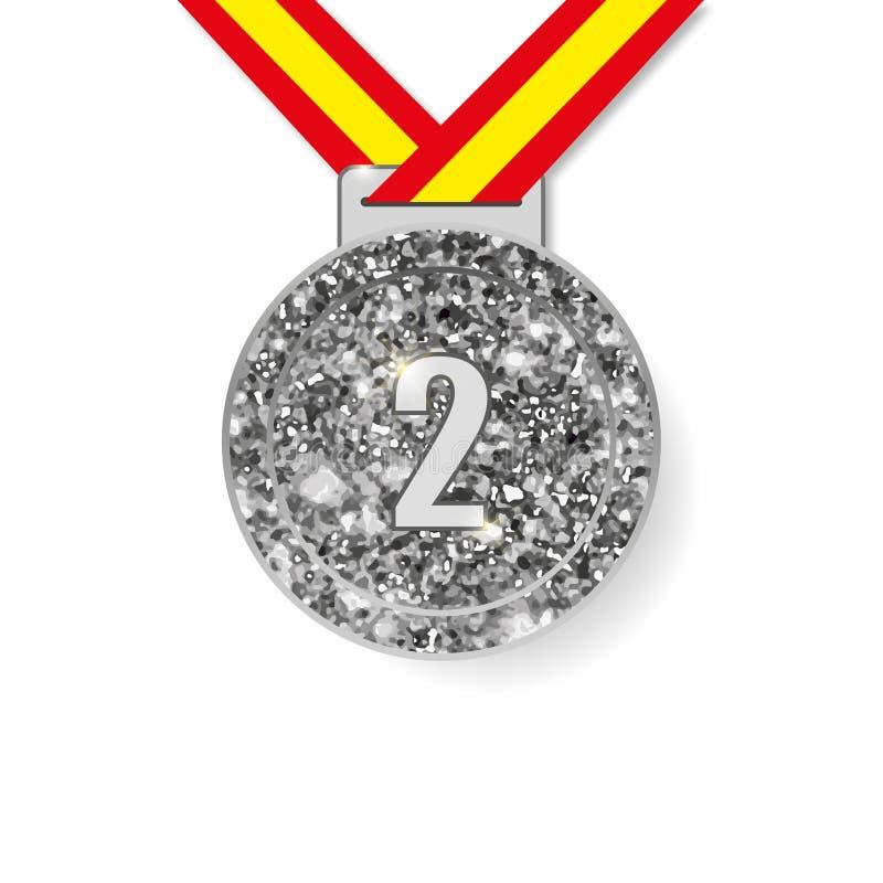 Zweite Platz-Silbermedaille vektor abbildung