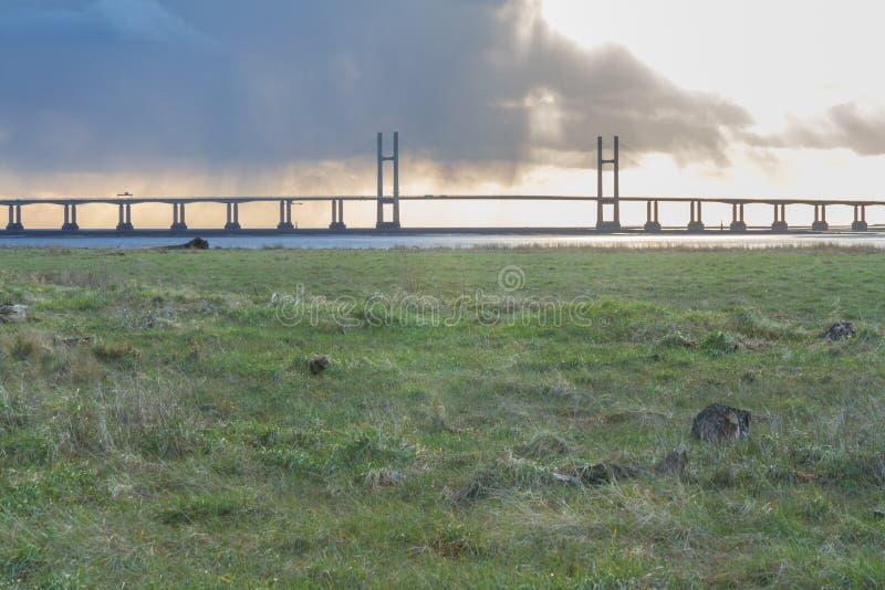 An zweiter Stelle Severn Crossing, Brücke über Bristol Channel stockbilder