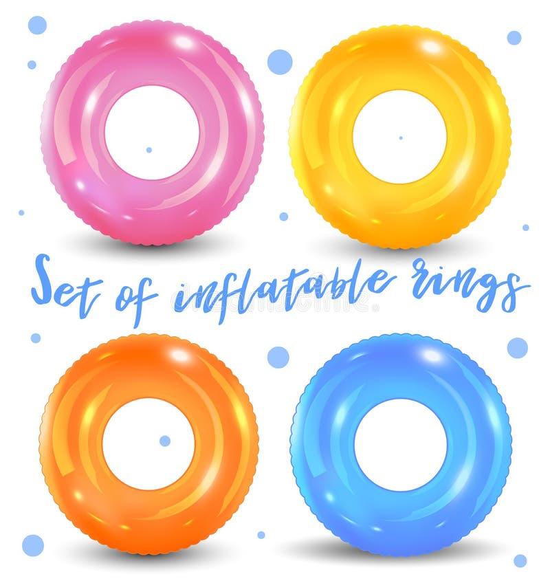 Zwem geplaatste ringen Opblaasbaar rubberstuk speelgoed Reddingsboei kleurrijke vectorinzameling De zomer Realistische zomerillus royalty-vrije illustratie