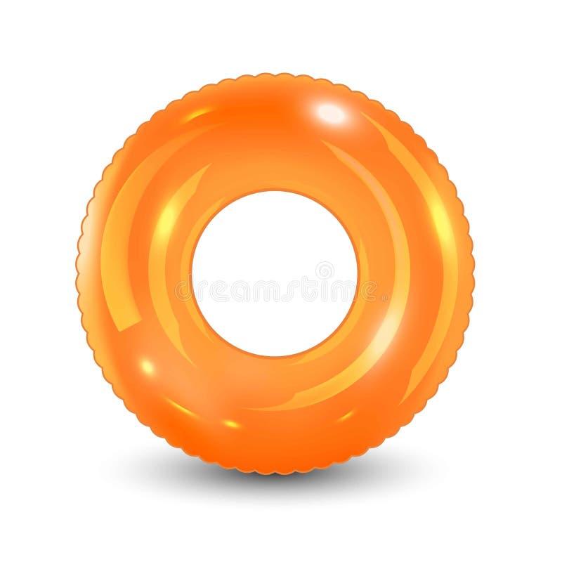 Zwem ring Opblaasbaar rubberstuk speelgoed Realistische zomerillustratie De zomervakantie of het punt van de reisveiligheid Hoogs royalty-vrije illustratie