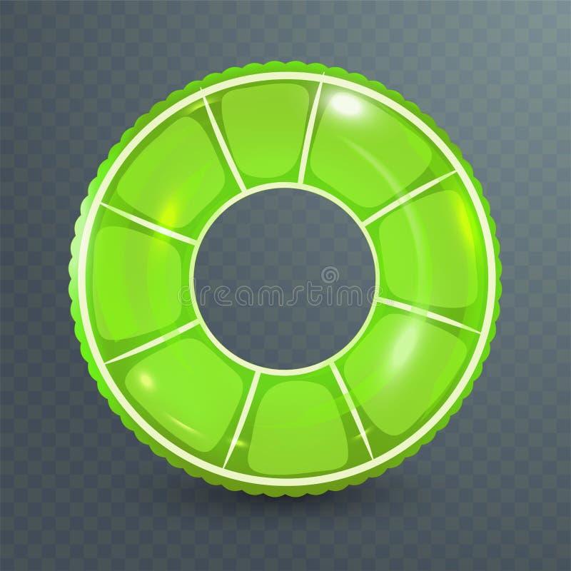 Zwem ring Opblaasbaar rubberstuk speelgoed Realistische zomerillustratie Kalkontwerp Hoogste menings zwemmende cirkel voor oceaan royalty-vrije illustratie
