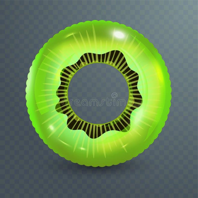 Zwem ring Opblaasbaar rubberstuk speelgoed Realistische zomerillustratie Kiwiontwerp Hoogste menings zwemmende cirkel voor oceaan stock illustratie