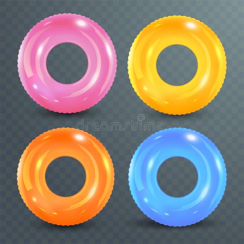 Zwem ringen op transparante achtergrond worden geplaatst die Opblaasbaar rubberstuk speelgoed Reddingsboei kleurrijke vectorinzam royalty-vrije illustratie