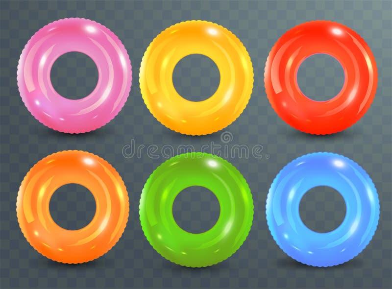 Zwem ringen op transparante achtergrond worden geplaatst die Opblaasbaar rubberstuk speelgoed Reddingsboei kleurrijke vectorinzam vector illustratie
