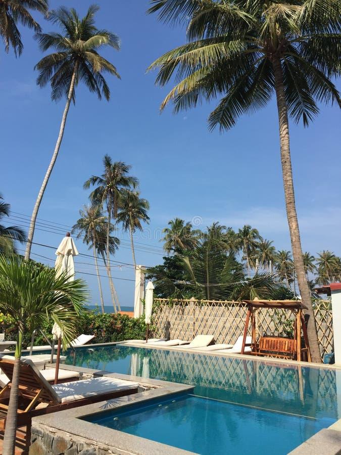 Zwembad bij de toevlucht in Mui-het strand van Ne, Vietnam stock afbeeldingen