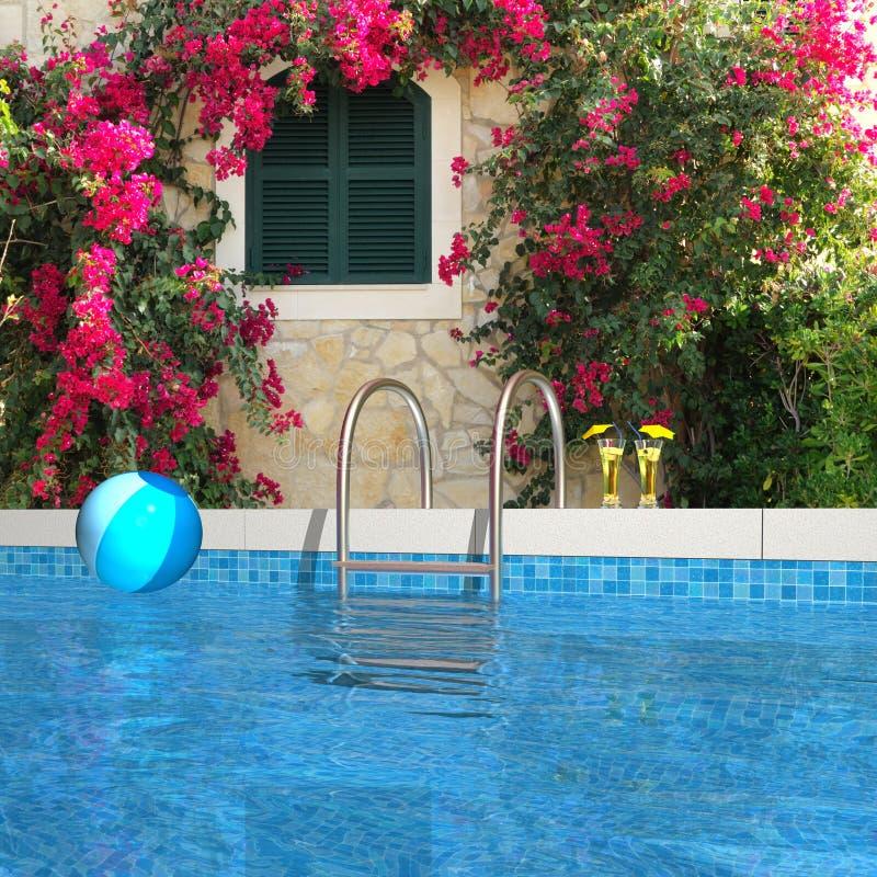 Zwembad in de tuin royalty-vrije illustratie