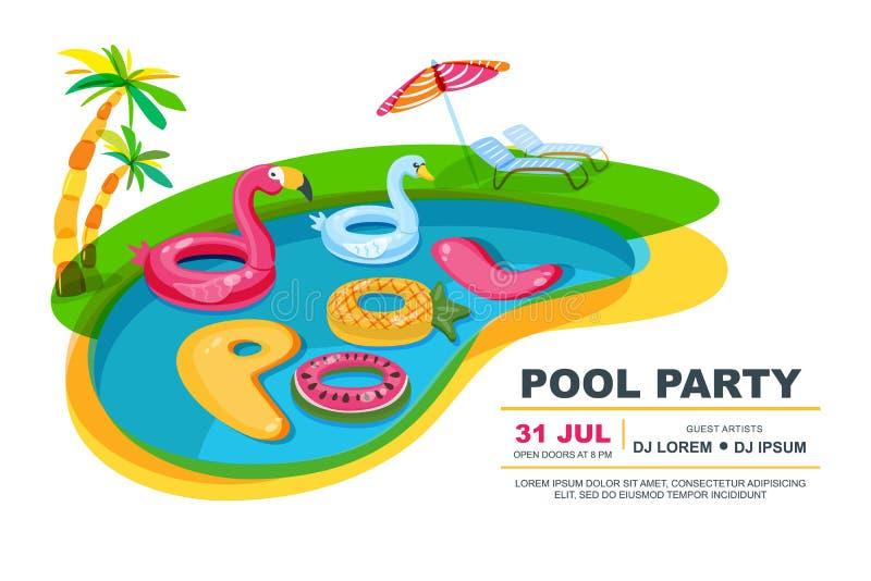 Zwembad met drijvend jonge geitjesspeelgoed Vector illustratie De affiche van de strandpartij, vlieger, het malplaatje van het ba stock illustratie