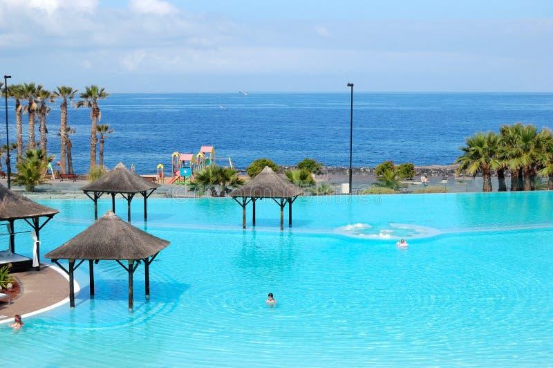 Zwembad met Jacuzzi en strand stock afbeelding