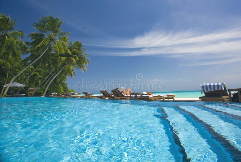 Zwembad op het eiland royalty-vrije stock fotografie