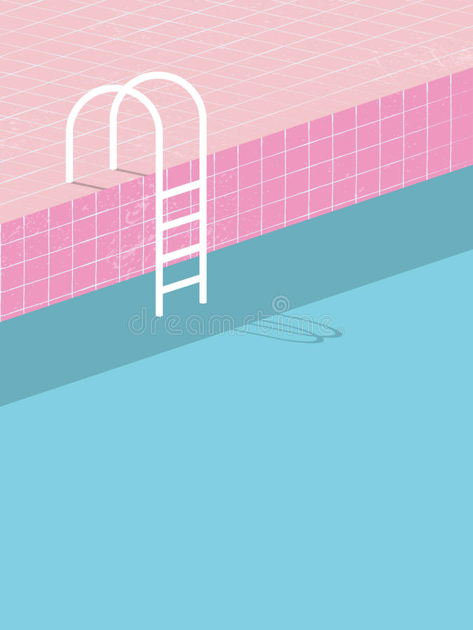 Zwembad in uitstekende stijl Oude retro roze tegels en witte ladder Van de de achtergrond zomeraffiche malplaatje royalty-vrije illustratie