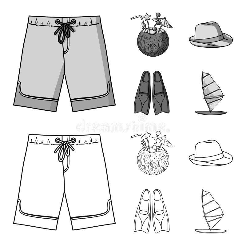Zwembroek, cocktail met kokosnoot, Panama en vinnen Het surfen van vastgestelde inzamelingspictogrammen in overzicht, zwart-wit s vector illustratie