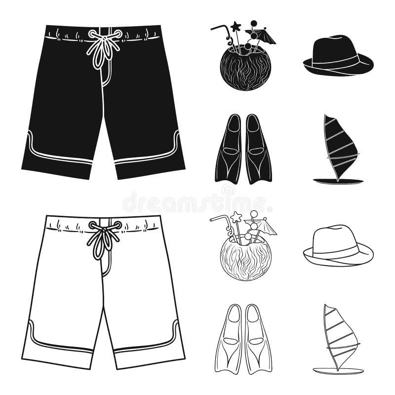 Zwembroek, cocktail met kokosnoot, Panama en vinnen Het surfen van vastgestelde inzamelingspictogrammen in zwarte, de vector van  stock illustratie
