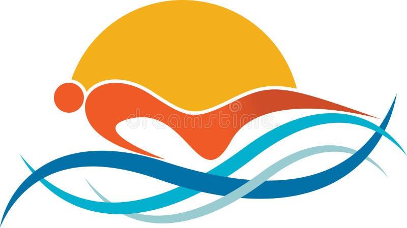 Zwemmend embleem vector illustratie