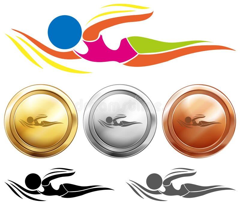 Zwemmend pictogram en drie medailles royalty-vrije illustratie