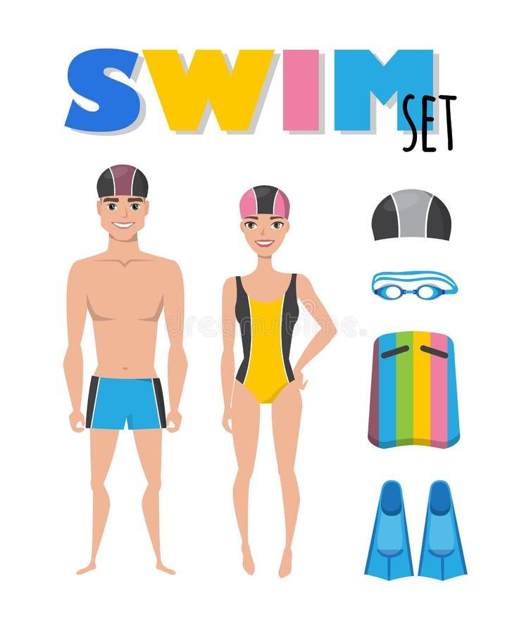 Zwemmende infographic elementen De reeks van zwemt pictogrammen Mensen in badpakken Toebehoren voor het zwemmen Vector vlak beeld vector illustratie