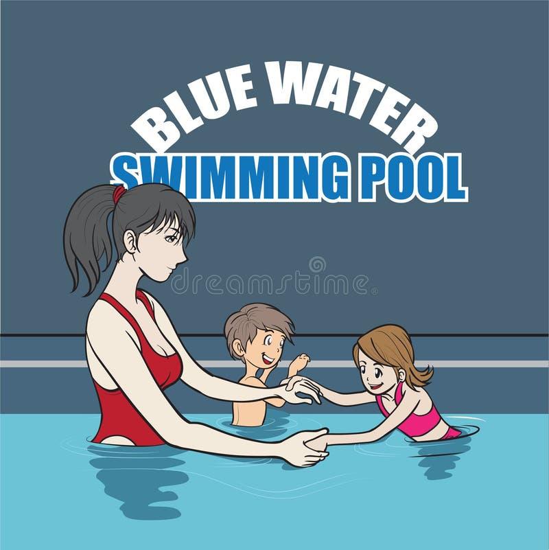 Zwemmende instructeur royalty-vrije illustratie