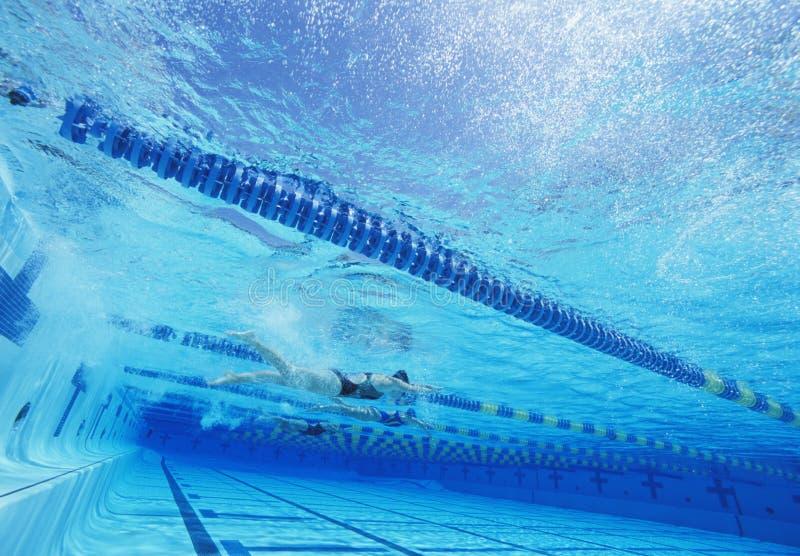 Zwemmers die samen in zwembad rennen royalty-vrije stock afbeeldingen