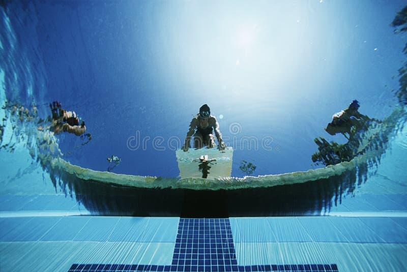 Zwemmers Klaar aan Dive In Pool stock afbeeldingen