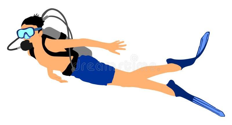 Zwemmersduiker met materiaal onder het overzees De activiteit van het de zomerstrand stock illustratie
