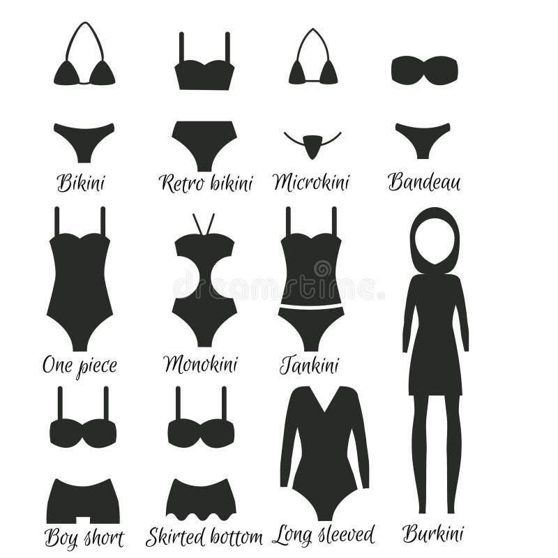 Zwempakkenmodellen voor vrouwen stock illustratie