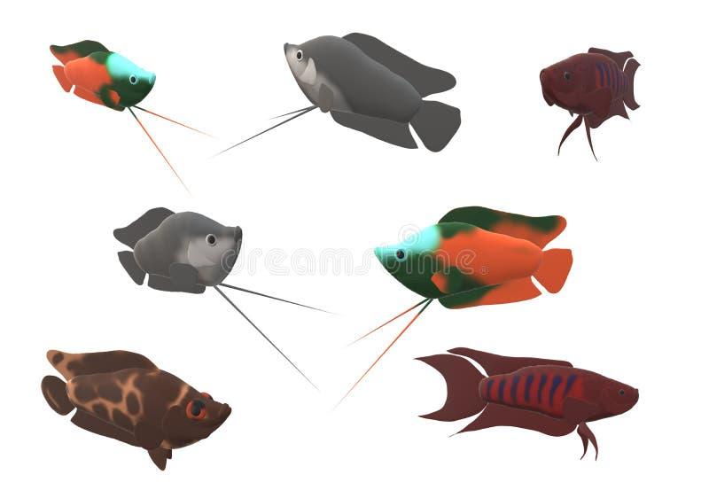 Zwergartiger Gourami, Paradies Gouramifische und ein Leopard bepflanzen Fische in der Illustration 3D mit Büschen stock abbildung