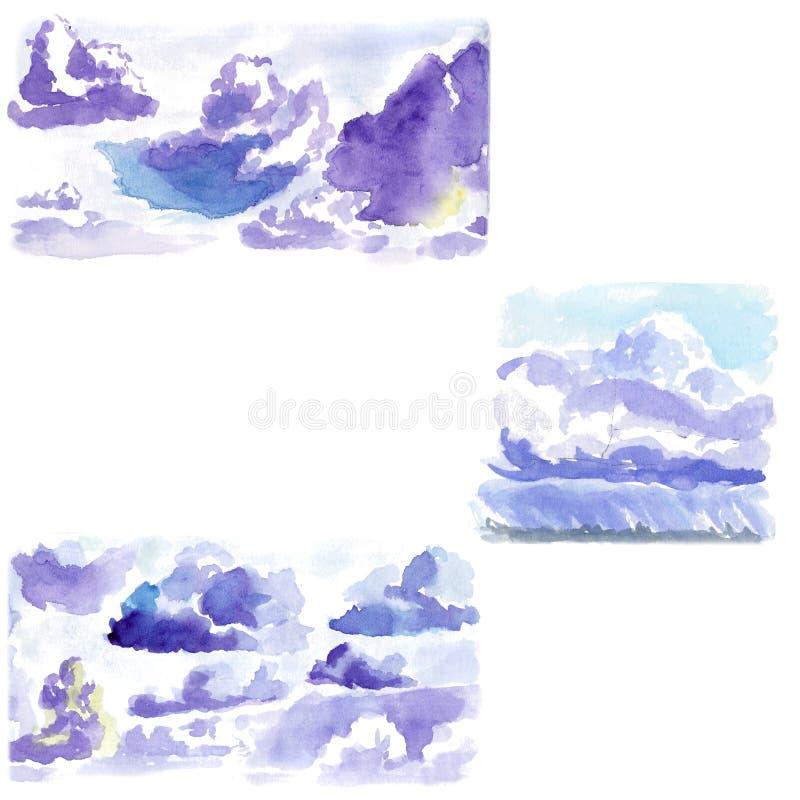 Zwerm van de de schets de snelle blauwe hemel van de wolkenwaterverf stock illustratie