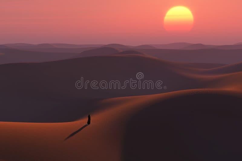 Zwerver in de woestijn royalty-vrije illustratie