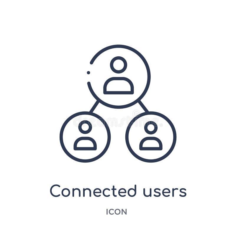 związani użytkownicy w spływowej mapy ikonie od interfejs użytkownika zarysowywają kolekcję Cienieje linia łączących użytkowników ilustracji