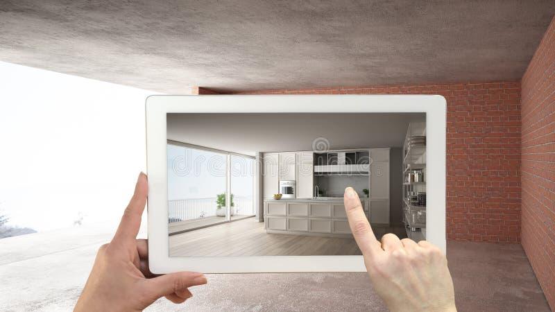 Zwiększający rzeczywistości pojęcie Wręcza mienie pastylkę z AR zastosowaniem używać symulować meble i projektować produkty w wnę zdjęcie stock