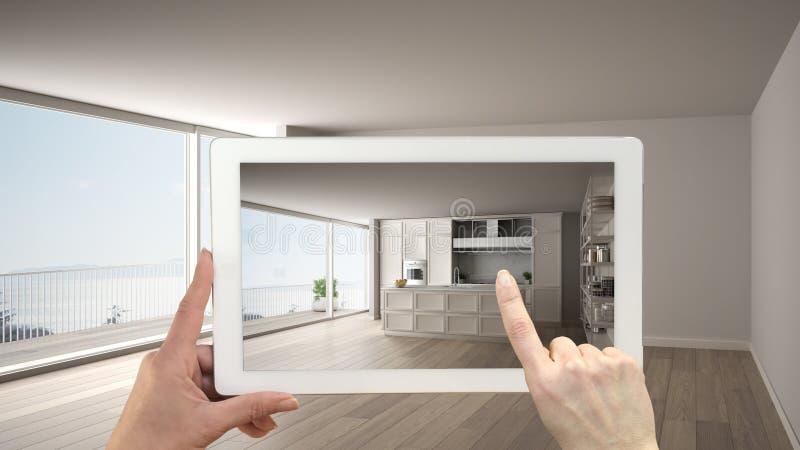 Zwiększający rzeczywistości pojęcie Wręcza mienie pastylkę z AR zastosowaniem używać symulować meble i projektować produkty w pus fotografia stock