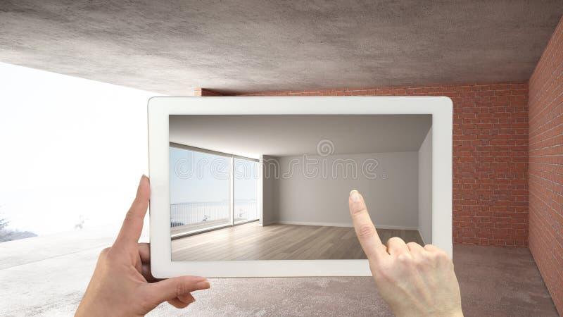 Zwiększający rzeczywistości pojęcie Wręcza mienie pastylkę z AR zastosowaniem używać symulować meble i projektować produkty w wnę obraz stock