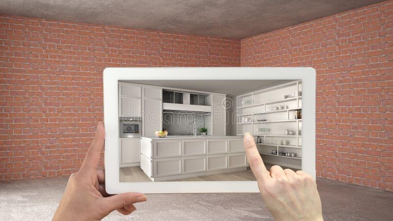Zwiększający rzeczywistości pojęcie Wręcza mienie pastylkę z AR zastosowaniem używać symulować meble i projektować produkty w wnę obrazy stock