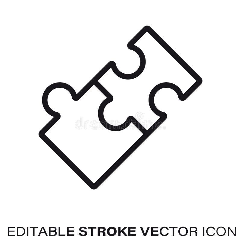 Związana wyrzynarki łamigłówki kawałków wektoru linii ikona ilustracja wektor