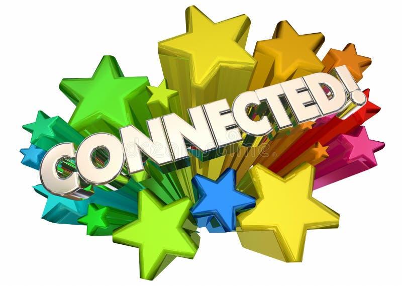 Związane gwiazdy Pracuje sieci Wpólnie związek 3d Illustra ilustracja wektor