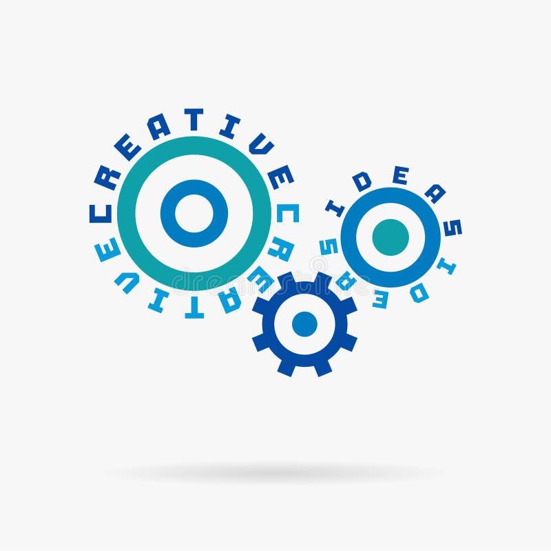 Związani cogwheels Kreatywnie pomysły, planowanie, sukcesu rozpoczęcia słowa Zintegrowana przekładnia, tekst Projekta rozwoju poc ilustracja wektor
