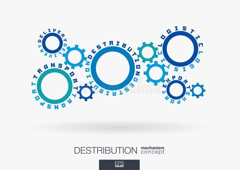 Związani cogwheels Logistycznie, destribution, dostawa, transport i eksport słowa, Zintegrowane przekładnie, tekst shipwreck ilustracja wektor