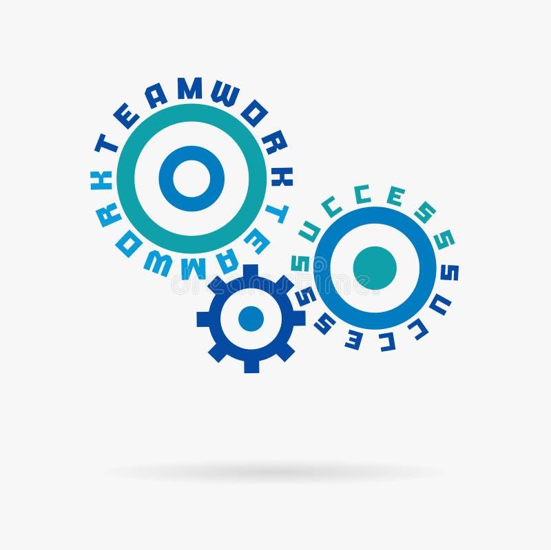 Związani cogwheels, praca zespołowa, sukcesów słowa Zintegrowane przekładnie, tekst Komunikacja, biznes, drużynowy pracy partners ilustracji
