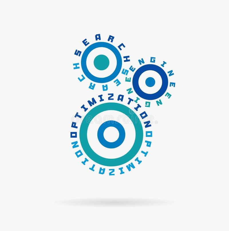Związani cogwheels Wyszukiwarka optymalizacja słowa Zintegrowane przekładnie, tekst Cyfrowa sieć, interneta biznes royalty ilustracja