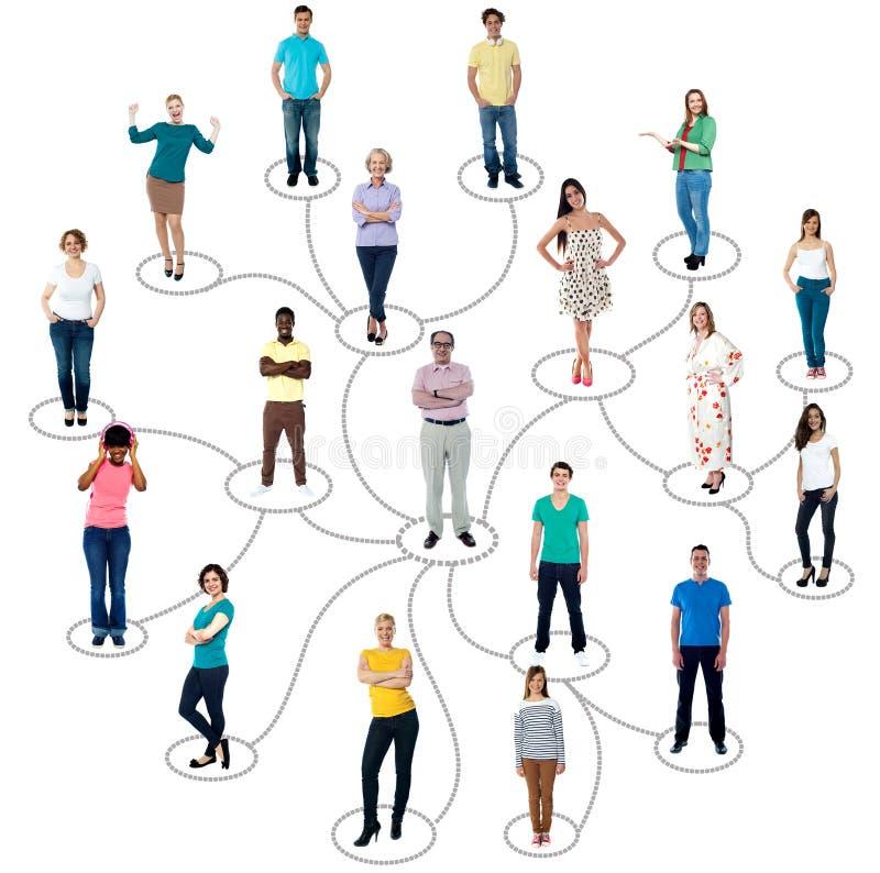 Związani ludzie ogólnospołecznej sieci komunikaci royalty ilustracja