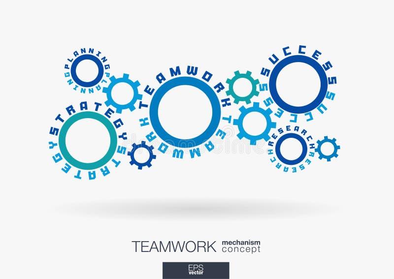 Związany cogwheels pojęcie Praca zespołowa sukces, strategia plan, badań słowa Zintegrowane przekładnie, tekst tła biznesowego wy royalty ilustracja