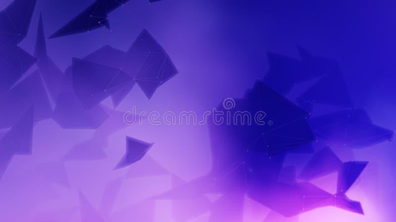 Związany poligonalny plexus w błękitnym tle royalty ilustracja