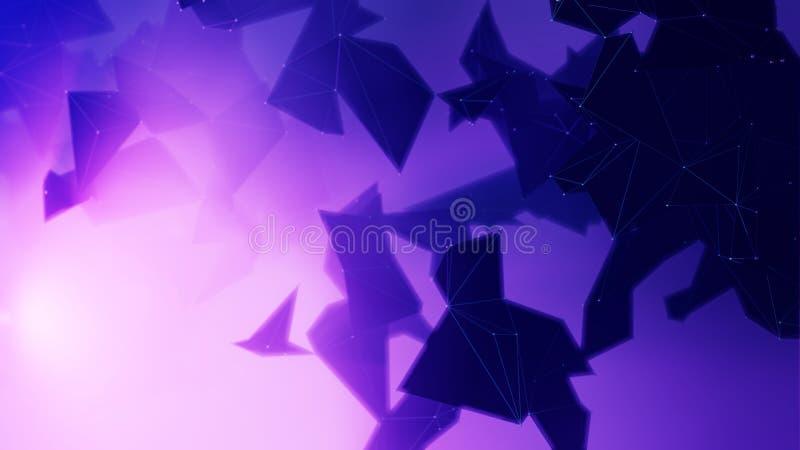 Związany poligonalny plexus w błękitnym tle ilustracji