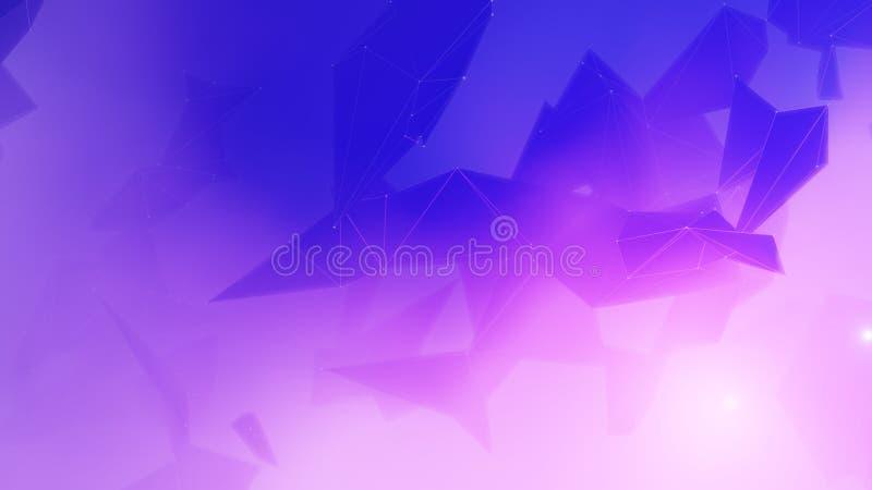 Związany poligonalny plexus w błękitnym tle ilustracja wektor