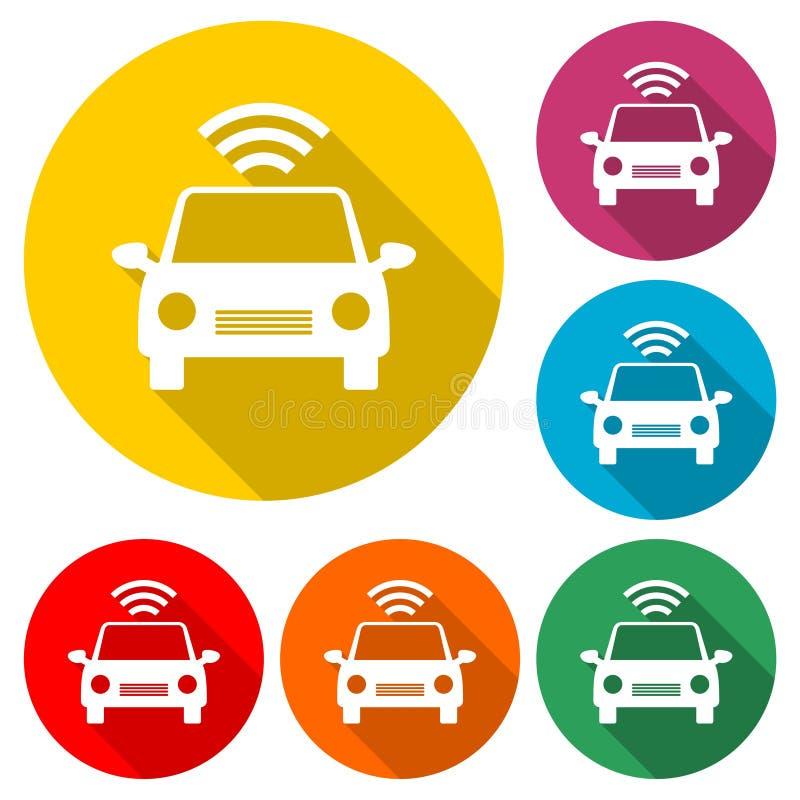 Związany samochód Mądrze samochodowa ikona z bezprzewodowym łączliwość symbolem, kolor ikona z długim cieniem royalty ilustracja